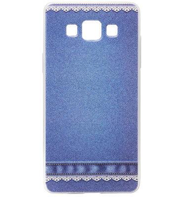 ADEL Siliconen Back Cover Softcase Hoesje voor Samsung Galaxy A5 (2015) - Jeans Spijkerbroek Blauw