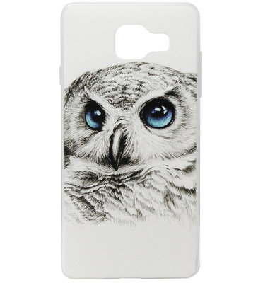 ADEL Siliconen Back Cover Softcase Hoesje voor Samsung Galaxy A3 (2016) - Uil Wit