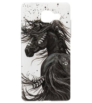 ADEL Siliconen Back Cover Softcase Hoesje voor Samsung Galaxy A3 (2016) - Paard met Veren