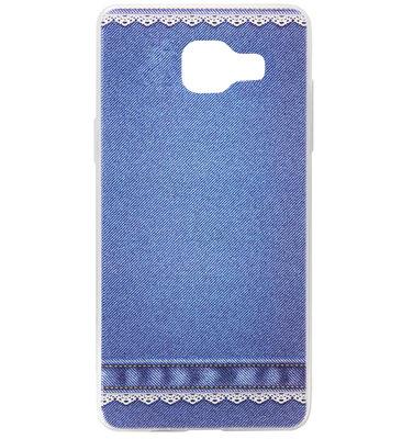 ADEL Siliconen Back Cover Softcase Hoesje voor Samsung Galaxy A3 (2016) - Jeans Spijkerbroek Blauw
