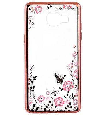 ADEL Siliconen Back Cover Softcase Hoesje voor Samsung Galaxy A3 (2016) - Bling Bling Vlinders en Bloemen Roze