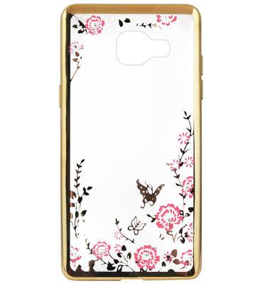ADEL Siliconen Back Cover Softcase Hoesje voor Samsung Galaxy A3 (2016) - Bling Bling Vlinders en Bloemen Goud