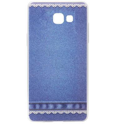 ADEL Siliconen Back Cover Softcase Hoesje voor Samsung Galaxy A3 (2017) - Jeans Spijkerbroek Blauw
