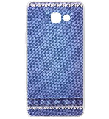 ADEL Siliconen Back Cover Softcase Hoesje voor Samsung Galaxy A5 (2017) - Jeans Spijkerbroek Blauw