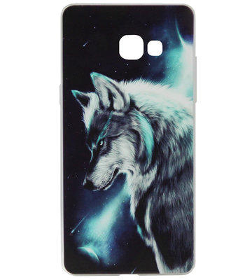 ADEL Siliconen Back Cover Softcase Hoesje voor Samsung Galaxy A3 (2017) - Wolf Blauw