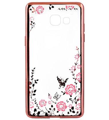 ADEL Siliconen Back Cover Softcase Hoesje voor Samsung Galaxy A5 (2017) - Bling Bling Vlinders en Bloemen Roze