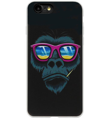 ADEL Siliconen Back Cover Softcase Hoesje voor iPhone SE (2020)/ 8/ 7 - Apen Gorilla