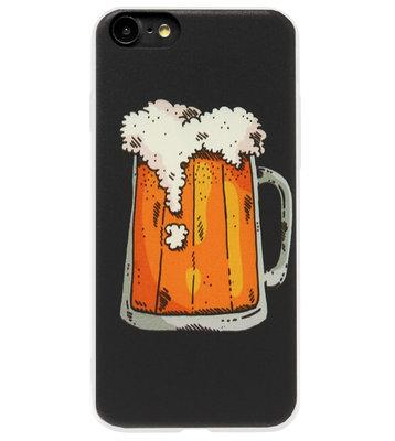 ADEL Siliconen Back Cover Softcase Hoesje voor iPhone SE (2020)/ 8/ 7 - Bier Pils
