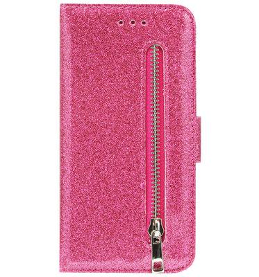 ADEL Kunstleren Book Case Portemonnee Pasjes Hoesje voor iPhone SE (2020)/ 8/ 7 - Bling Bling Roze