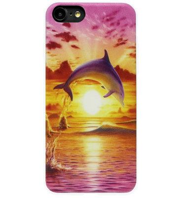 ADEL Siliconen Back Cover Softcase Hoesje voor iPhone SE (2020)/ 8/ 7 - Dolfijn Roze