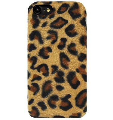 ADEL Siliconen Back Cover Softcase Hoesje voor iPhone SE (2020)/ 8/ 7 - Luipaard Zachte Pluche Stof Design