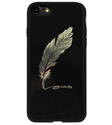 ADEL Siliconen Back Cover Softcase Hoesje voor iPhone SE (2020)/ 8/ 7 - Bling Bling Glimmend Veren Goud