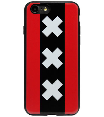 ADEL Siliconen Back Cover Softcase Hoesje voor iPhone SE (2020)/ 8/ 7 - Amsterdam Andreaskruisen