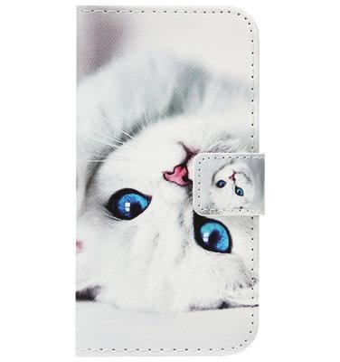 ADEL Kunstleren Book Case Portemonnee Pasjes Hoesje voor iPhone SE (2020)/ 8/ 7 - Katten Wit