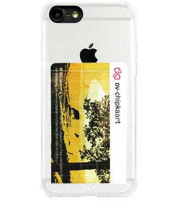 ADEL Siliconen Back Cover Softcase Hoesje voor iPhone SE (2020)/ 8/ 7 - Pasjeshouder Doorzichtig