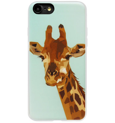 ADEL Siliconen Back Cover Softcase Hoesje voor iPhone SE (2020)/ 8/ 7 - Giraf