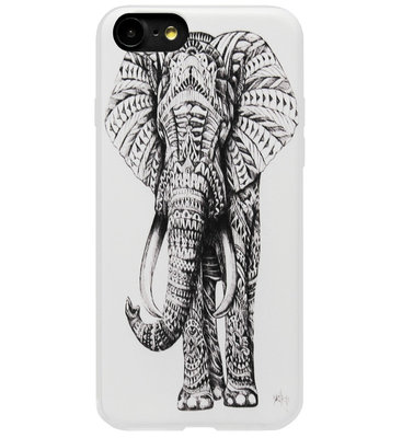 ADEL Siliconen Back Cover Softcase Hoesje voor iPhone SE (2020)/ 8/ 7 - Olifant Wit