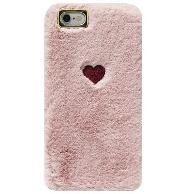 ADEL Siliconen Back Cover Softcase Hoesje voor iPhone SE (2020)/ 8/ 7 - Hartjes Fluffy Pluche Zachte Stof