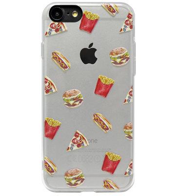 ADEL Siliconen Back Cover Softcase Hoesje voor iPhone SE (2020)/ 8/ 7 - Junkfood Pizza Patat Hotdog Hamburger