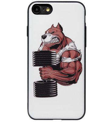 ADEL Siliconen Back Cover Softcase Hoesje voor iPhone SE (2020)/ 8/ 7 - Fitness Sport Bodybuilder Beer