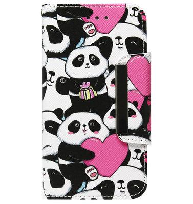 ADEL Kunstleren Book Case Portemonnee Pasjes Hoesje voor iPhone SE (2020)/ 8/ 7 - Panda Hartjes