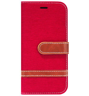 ADEL Kunstleren Book Case Portemonnee Pasjes Hoesje voor iPhone SE (2020)/ 8/ 7 - Rood Stoffen Design
