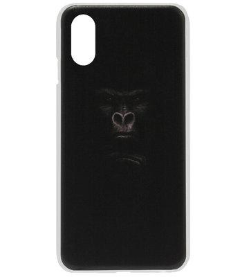 ADEL Kunststof Back Cover Hardcase Hoesje voor iPhone XS/ X - Apen Gorilla
