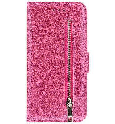 ADEL Kunstleren Book Case Portemonnee Pasjes Hoesje voor iPhone XS/ X - Bling Bling Roze