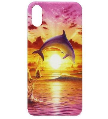 ADEL Siliconen Back Cover Softcase Hoesje voor iPhone XS/ X - Dolfijn Roze