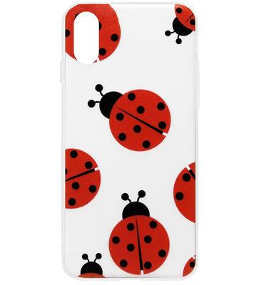 ADEL Siliconen Back Cover Softcase Hoesje voor iPhone XS/ X - Lieveheersbeestjes