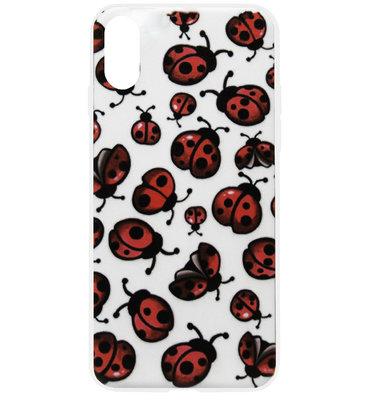 ADEL Siliconen Back Cover Softcase Hoesje voor iPhone XS/ X - Lieveheersbeestjes Klein