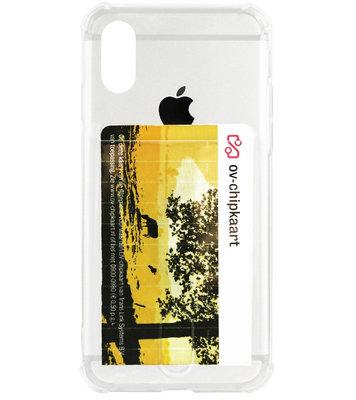 ADEL Siliconen Back Cover Softcase Hoesje voor iPhone XS/ X - Pasjeshouder Doorzichtig