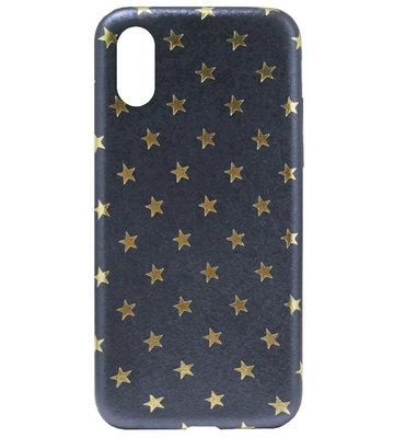 ADEL Siliconen Back Cover Softcase Hoesje voor iPhone XS/ X - Gouden Sterren Blauw
