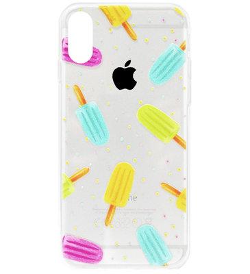 ADEL Siliconen Back Cover Softcase Hoesje voor iPhone XS/ X - Zoete ijsjes