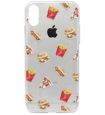 ADEL Siliconen Back Cover Softcase Hoesje voor iPhone XS/ X - Junkfood Pizza Patat Hotdog Hamburger
