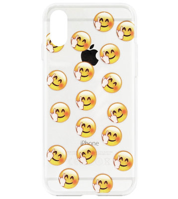 ADEL Siliconen Back Cover Softcase Hoesje voor iPhone XS/ X - Smileys Emoticons