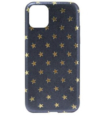 ADEL Siliconen Back Cover Softcase Hoesje voor iPhone 11 Pro - Gouden Sterren Blauw