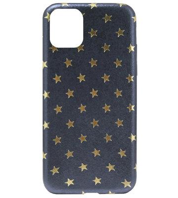 ADEL Siliconen Back Cover Softcase Hoesje voor iPhone 11 - Gouden Sterren Blauw