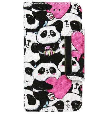 ADEL Kunstleren Book Case Portemonnee Pasjes Hoesje voor iPhone 11 - Panda Hartjes