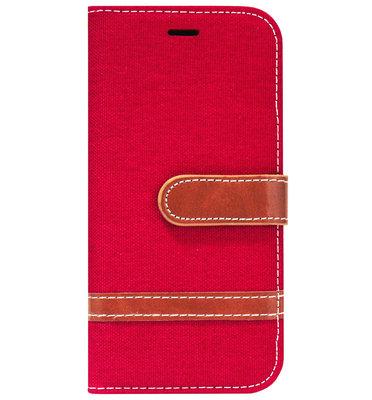ADEL Kunstleren Book Case Portemonnee Pasjes Hoesje voor iPhone 11 - Rood Stoffen Design