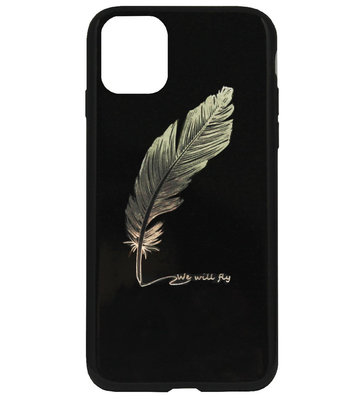 ADEL Siliconen Back Cover Softcase Hoesje voor iPhone 11 Pro Max - Bling Bling Glimmend Veren Goud
