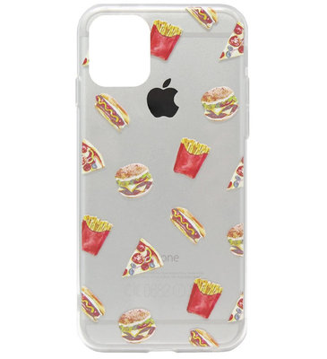 ADEL Siliconen Back Cover Softcase Hoesje voor iPhone 11 Pro Max - Junkfood Pizza Patat Hotdog Hamburger
