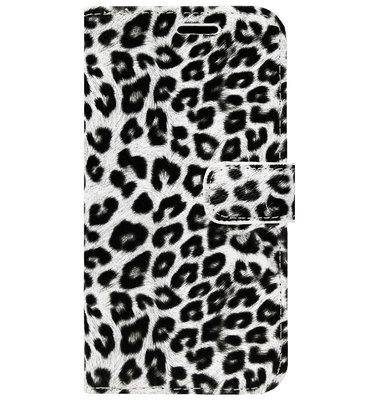 ADEL Kunstleren Book Case Portemonnee Pasjes Hoesje voor iPhone 11 Pro - Luipaard Wit