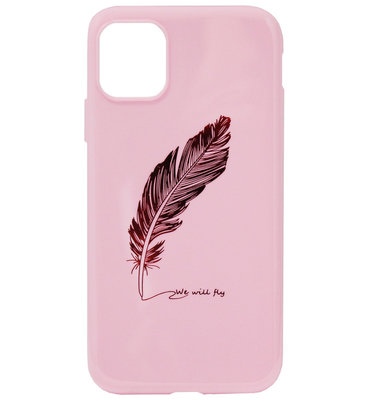 ADEL Siliconen Back Cover Softcase Hoesje voor iPhone 11 - Bling Bling Glimmend Veren Roze