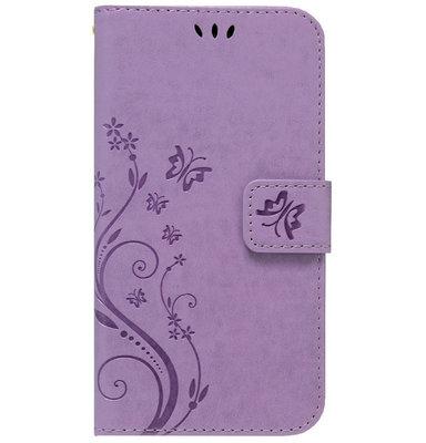 ADEL Kunstleren Book Case Portemonnee Pasjes Hoesje voor iPhone 11 Pro - Vlinder Paars