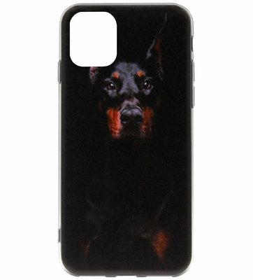 ADEL Siliconen Back Cover Softcase Hoesje voor iPhone 11 Pro - Dobermann Pinscher Hond