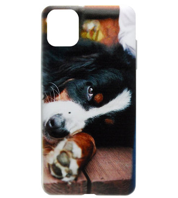 ADEL Siliconen Back Cover Softcase Hoesje voor iPhone 11 - Berner Sennenhond