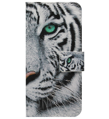ADEL Kunstleren Book Case Portemonnee Pasjes Hoesje voor iPhone 11 - Tijger Wit