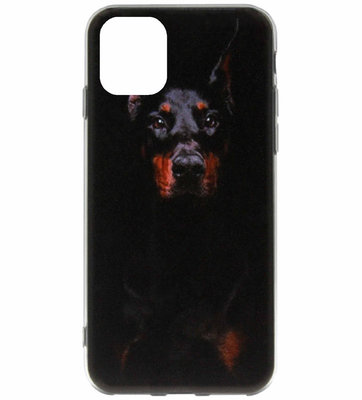 ADEL Siliconen Back Cover Softcase Hoesje voor iPhone 11 Pro Max - Dobermann Pinscher Hond