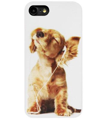 ADEL Siliconen Back Cover Softcase Hoesje voor iPhone SE (2020)/ 8/ 7 - Honden Retriever Wit
